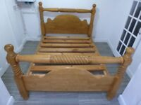 KING SIZE SOLID WOODEN CHUNKY HEAVY BED FRAME
