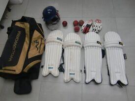 cricket gear. woodworm holdall. woodworm cricket pads. Gunn& Moor pads. GM cricket helmet etc.