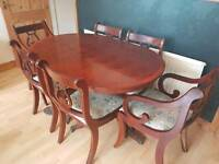 LARGE MAHOGANY DINING TABLE AND 6 CHAIRS SHABBY CHIC PROJECT