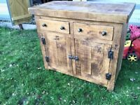 Rustic Plank Pine Sideboard - Cabinet Cupboard Storage - Indigo
