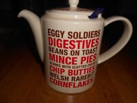 Vintage Retro Whittard Chatsford Bob's Your Uncle Teapot Cream Red Writing Text Eggy Soldiers