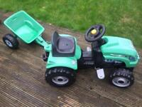 Kids outdoor tractor and trailer
