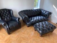 Tetras Oskar 2/3 seat Sofa, Chair and Foot Stool (Dark Blue)