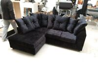 NEW L/H BLACK CRUSHED VELVET CORNER SOFA INCLUDES FREE DELIVERY & FREE MATCHING STOOL FOR £299.99