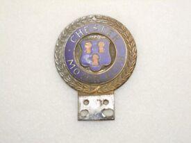 Car Badge - Chester motor Club - enamel. REDUCED IN PRICE.