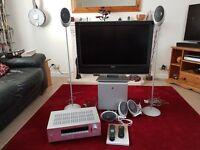 Kef surround sound speakers, Yamaha tuner/amplifier & Toshiba 32inch LCD TV