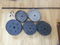 75KG of Weights & Barbell