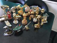 Miniature brass/silver effect clocks