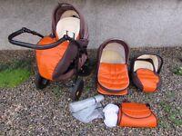Tutis Zippy Orange Leather + fabric stroller pram pushchair buggy car seat - 3 in 1