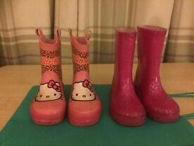 2 pairs of toddler girl wellies