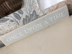 Once upon a time traditional look vintage wooden sign