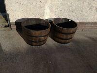 1/2 barrel planters, solid oak