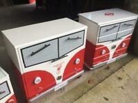 Drawers painted to look like a camper van. Liverpool themed.