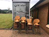 Heavy beech wood stacking chairs on chrome legs very well made ( from a local school )