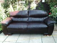 Real leather Sofa & 1 Chair Choc Brown