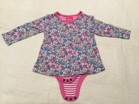 Joules floral top with built in bodysuit age 21-18 months