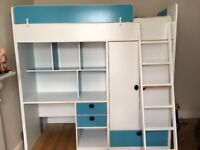 High sleeper with desk, wardrobe, drawers and shelves