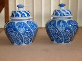 Pair of pretty china pots