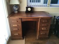 Old wooden desk with two secret locking drawers
