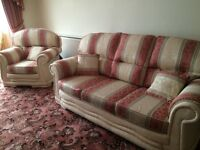 New deluxe 3 piece suite.Pink, gold and cream. Showroom as new condition