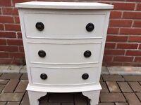 3 drawer bow fronted chest of drawers