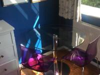 John Lewis Round Glass Table w/ Two Chairs