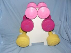 3 Pairs of Dumbbells on Stand - Pink, Yellow, 1.1Kg 1.5Kg 2.3Kg Fitness Weights Dumbells