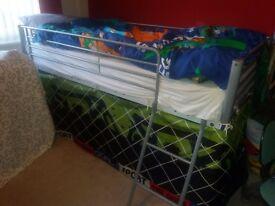 Single Metal Mid-Sleeper Bed and Mattress