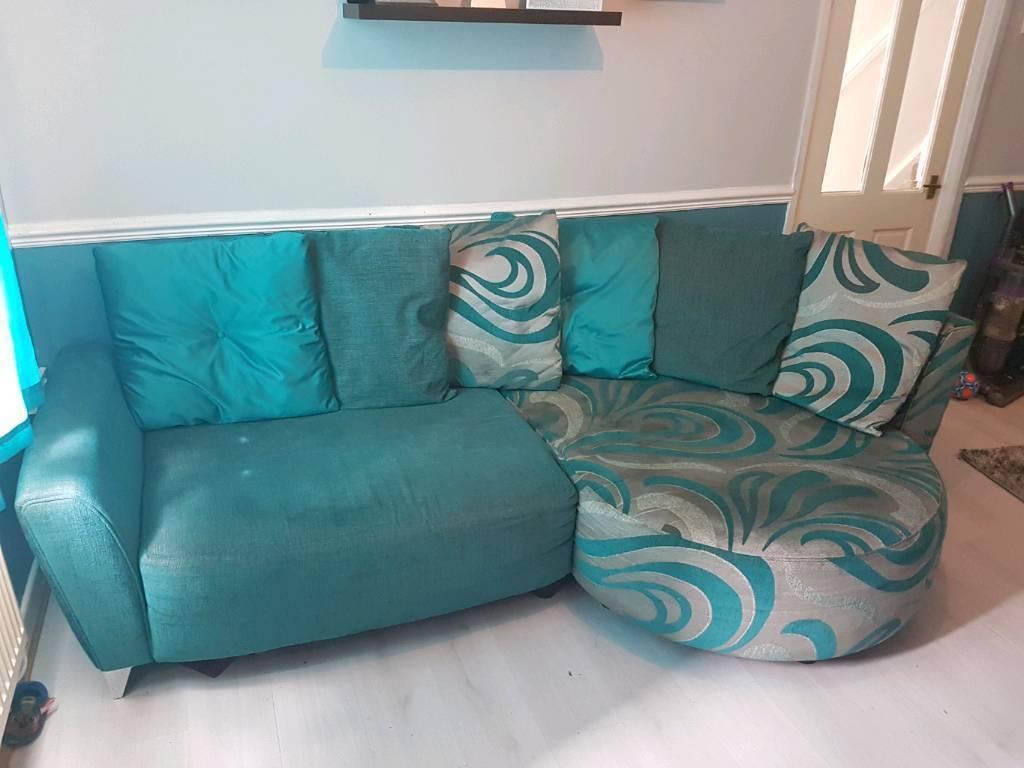 Teal Corner Sofa And Cuddle Chair