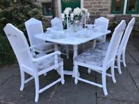 Dining Table & 6 Chairs ~ Extending ~ SILVER CRUSHED VELVET