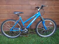 Raleigh azure bike, 26 inch wheels, 18 gears, 18 inch aluminium frame, front suspension, blue