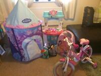 Hello kitty Bike & Frozen tent & toy kitchen