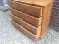 Large solid chunky pine chest of drawers