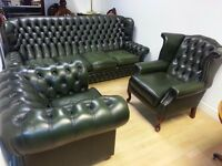 Lovely green leather chesterfield set.large 4 setter&club chair & high back queen Anne armchair.