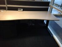 10 x 1800MM DOUBLE WAVE DESKS WITH FIXED IN METAL DRAWERS & 5 X DIVIDERS