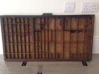 Vintage wooden printers wooden block tray