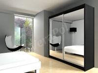 same day delivery -- Brand New Chicago Fully Mirror Wardrobe Hanging Rails And Shelves Black White