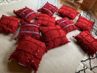 Moroccan red cushion covers with cushions