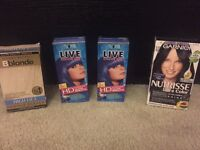 Variety of hair dyes and bleach