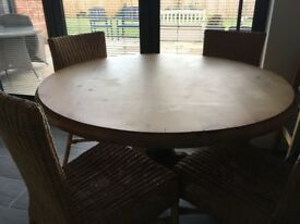Beautiful solid pine table and chairs heavy and well built