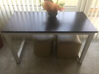 Home Office Desk Computer PC Writing Table WorkStation - Black Wooden top, white metal legs. VGC.
