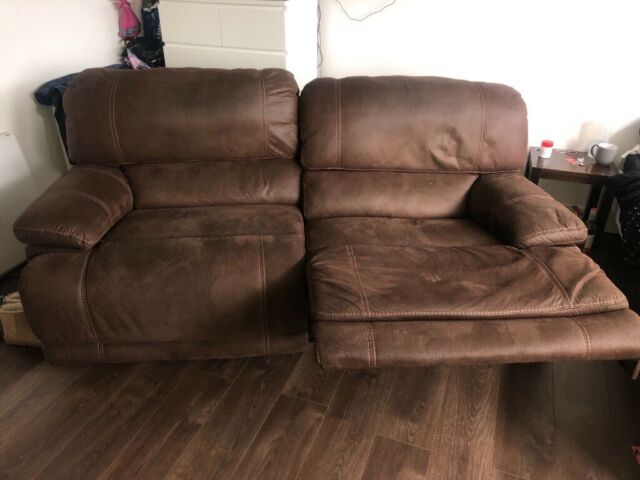 Marvelous Two Piece Brown Recliner Suede Sofa Couch In East Kilbride Glasgow Gumtree Dailytribune Chair Design For Home Dailytribuneorg