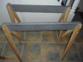 2 x (A Pair) of TRESTLE TABLE LEGS - Wood and Metal - Ideal for extra Christmas table space
