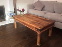 Antique wooden and wrought iron coffee table