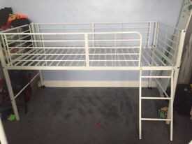 Childs white metal high sleeper bed