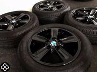 "NEW GENUINE BMW 16"" ALLOY WHEELS & TYRES - 5 X 120 - 205 55 16 CRYSTAL GLOSS BLACK - Wheel Smart"
