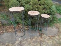 3 x terracotta mosaic plant stands
