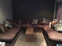 Brown fabric Corner sofa - u shape custom made