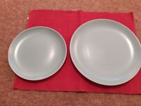 Poole twin-toned sky blue and pale grey 8 dinner+ side plates