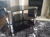 Black Glass Television (TV) Stand with Silver Legs